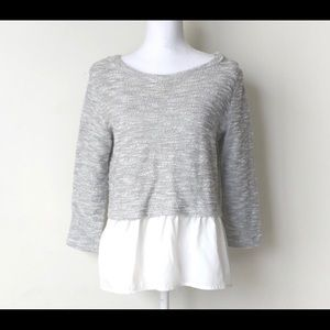 ANTHROPLOGIE Layered Grey and White Shirt XS